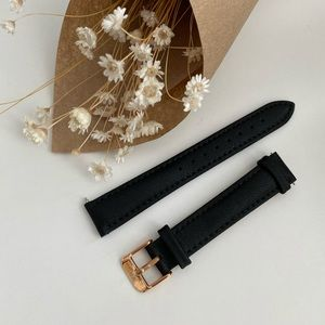 JW Pei 16mm Vegan Leather Watch Strap in Black